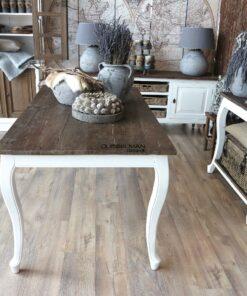 Queen ann eettafel old elm oud hout met witte barok poten Dubbelman Design