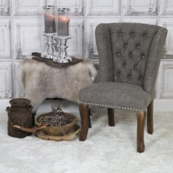Kinderstoel kinder wing chair met queen ann poten vintage leatherlook taupe met ring
