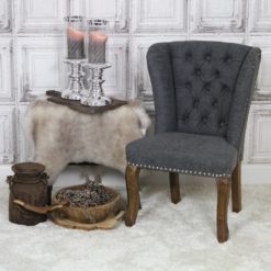 Kinderstoel kinder wing chair met queen ann poten vintage leatherlook grijs antraciet met ring