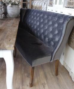 Landelijke eetbank wing chair wingchair velours grijs/antraciet met queen ann poten en zilveren studs dubbelman design
