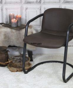 Stoere stijlvolle goedkope moderne eetkamerstoel Levi leatherlook bruin