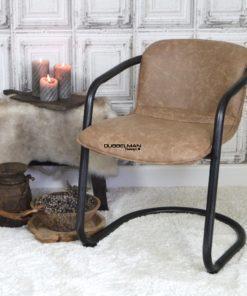 Stoere stijlvolle goedkope moderne eetkamerstoel Levi leatherlook beige/camel
