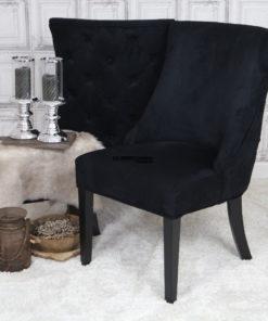 landelijke-eetkamerstoel-eetstoel-Coco-suede-leatherlook-zwart-knopen-rug-dubbelman-design