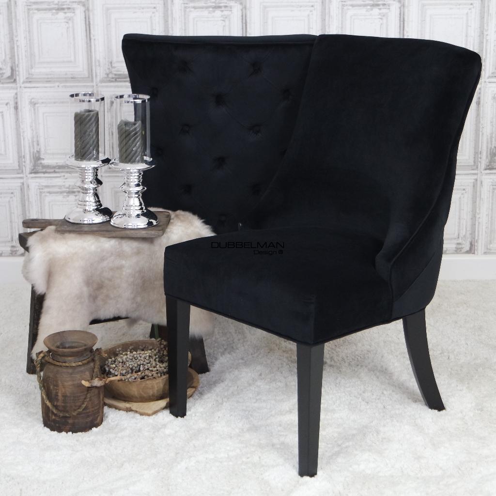 Zwart Velours Fauteuil.Collectie Dubbelman Design